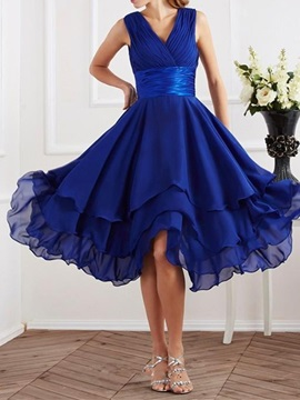 Ericdress Charming V-Neck Asymmetry Chiffon Bridesmaid-Dress