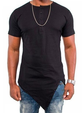 Men's Clothing Plain Loose Scoop Asymmetric T Shirts