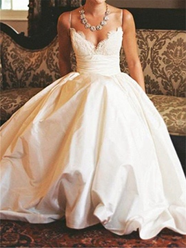 Ericdress Spaghetti Straps Lace Country Wedding Dress
