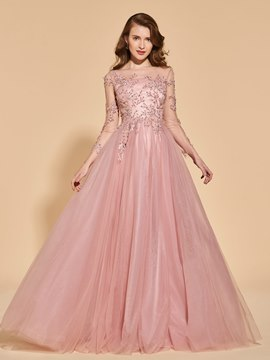 Ericdress Long Sleeves Evening Dress With Beadings And Appliques