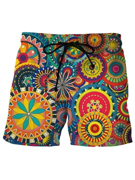 Ericdress Geometric Pattern Mens Printed Beach Board Swim Shorts