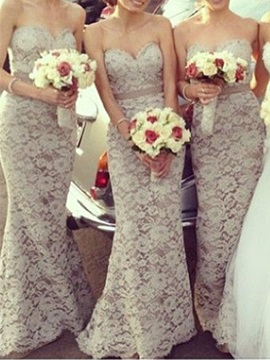 Ericdress Mermaid Sashes Floor-Length Lace Bridesmaid Dress