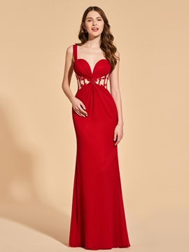 Ericdress A Line Straps Sheath Long Prom Dress With Applique