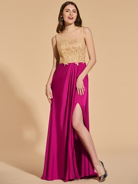 Ericdress A Line Split Side Contrast Color Prom Dress With Applique