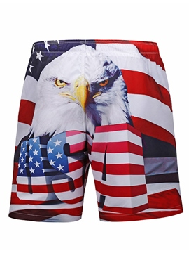Ericdress Stripe Eagle Designed Men's Board Beach Swim Shorts With Mesh Lining