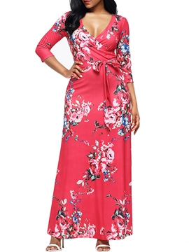 Ericdress V-Neck Lace-Up Floral Print Women's Maxi Dress