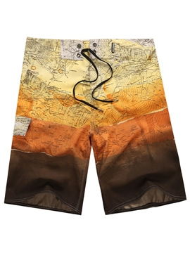 Ericdress Patchwork Gradient Swimwear Men's Beach Board Shorts Swim Trunks