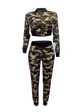 Ericdress Camouflage Jacket and Pants Women's Two Piece Set