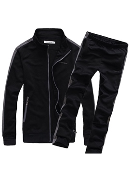 Ericdress Plain Zipper Men's Sports Suit Jacket Pants