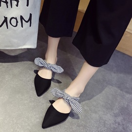 Ericdress Closed Toe Slip-On Mules Shoes with Bowknot