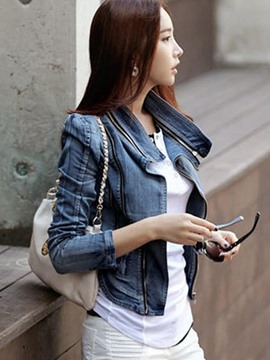 Ericdress Slim Lapel Worn Denim Jacket