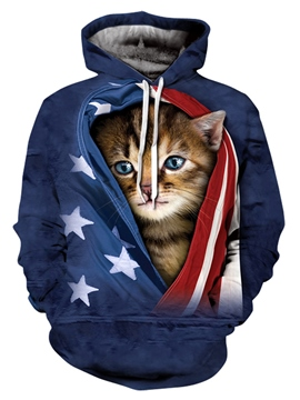 Ericdress 3D Cat Printed Men's Loose Pullover Hoodie
