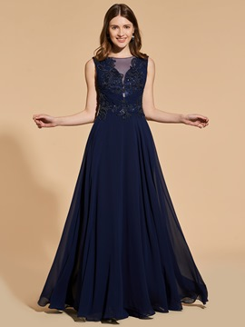 Ericdress A Line Chiffon Long Prom Dress With Beadings