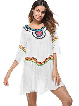 Ericdress Flare Sleeve Embroidery Dress Cover Up