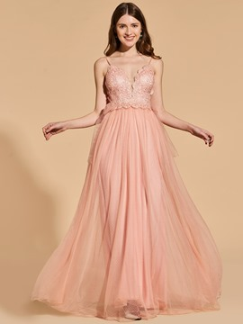Ericdress A Line Spaghetti Straps Lace Applique Backless Prom Dress