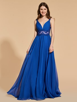 Ericdress A Line V Neck Straps Applique Long Prom Dress