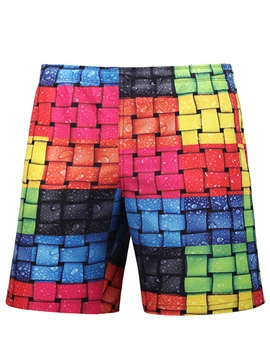 Ericdress Patchwork Color Block Men's Swim Trunks Beach Board Shorts