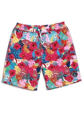Ericdress Floral Print Men's Swim Trunks Water Shorts Swimwear Casual Beach Shorts