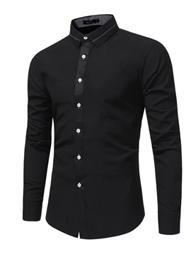 Ericdress Plain Lapel Slim Fit Men's Button Down Casual Dress Shirts