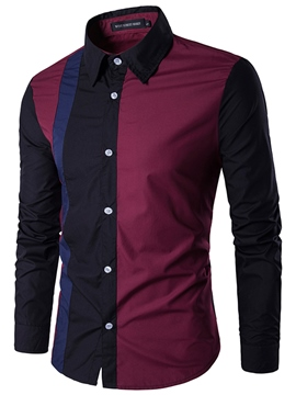 Ericdress Lapel Patchwork Color Block Slim Fit Men's Cotton Shirts