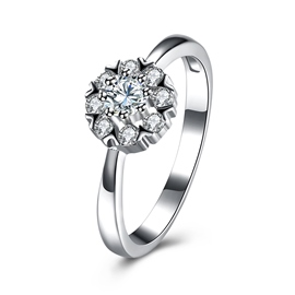 Ericdress S925 Sterling Silver Diamante Wedding Ring