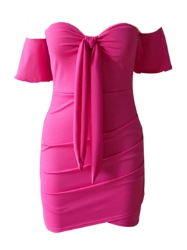 Ericdress Above Knee Ruffles Pink Women's Bodycon Dress