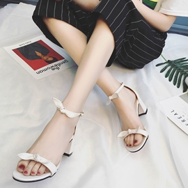Ericdress Open Toe Plain Chunky Sandals with Bowknot