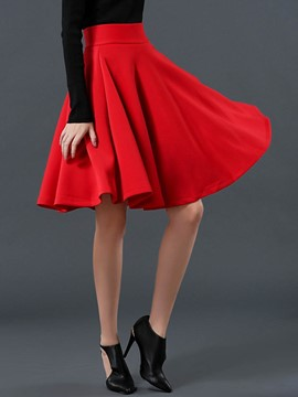 Ericdress Pleated Knee-Length Women's Skirt