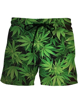 Ericdress Leaf Printed Swimwear Men's Swim Trunks Beach Board Shorts