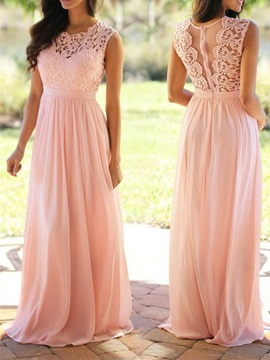 Ericdress A Line Long Lace Bridesmaid Dress
