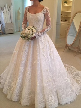 Ericdress Button Back Lace Long Sleeves Wedding Dress