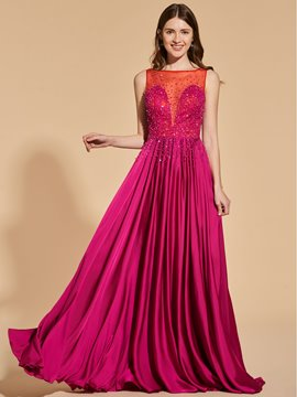 Ericdress A Line Bateau Neck Beaded Long Prom Dress