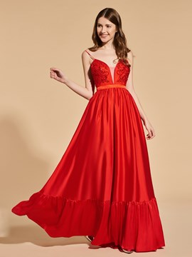 Ericdress A Line Spaghetti Straps Backless Red Prom Dress