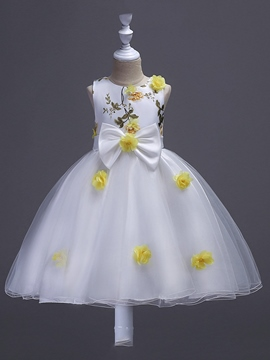 Ericdress Appliques Mesh Bowknot Girl's Sleeveless Floral Princess Dress
