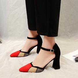 Ericdress Color Block Pointed Toe Chunky Heel Pumps
