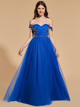 Ericdress A Line Off The Shoulder Beaded Long Prom Dress With Zipper Up