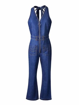 Ericdress Zipper Lace-Up Women's Jumpsuit