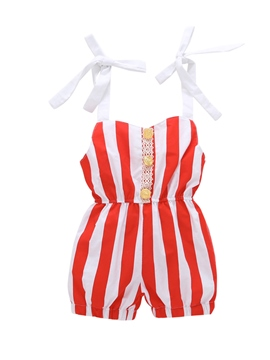 Ericdress Stripe Print Patchwork Baby Girl's Jumpsuit