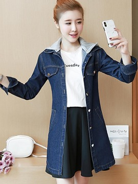 Ericdress Letter Mid-Length Hooded Denim Trench Coat