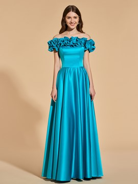 Ericdress A Line Ruffles Off The Shoulder Short Sleeve Long Prom Dress