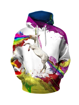 Ericdress Men's Pullover Colourful Print Loose Hoodie