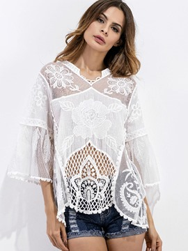 Ericdress Plain Hollow Mesh Patchwork Lace Flare Sleeve Cover Up