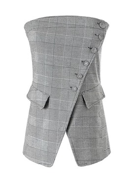 Ericdress Slim Houndstooth Pocket Vest