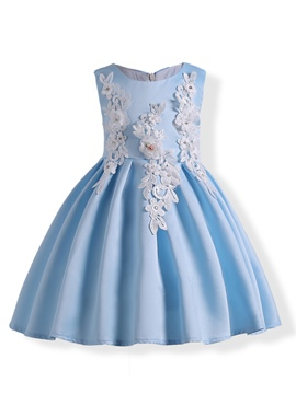 Ericdress Appliques Sleeveless Pleated Girl's Princess Dress