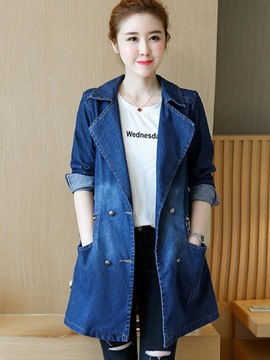 Ericdress Polo Neck Mid-Length Denim Trench Coat