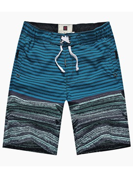 Ericdress Color Block Stripe Lace Up Men's Knee Length Swim Shorts Beach Board Trunks