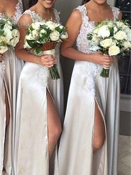 A-Line Floor-Length Straps Sleeveless Wedding Party Dress