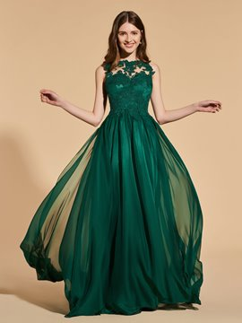 Ericdress A Line Scoop Neck Long Prom Dress