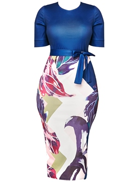 Ericdress Floral Print Patchwork Lace-Up Women's Sheath Dress