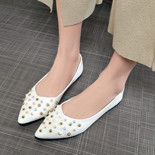 Ericdress Beads&Rivet Decorated Slip-On Plain Women's Flats